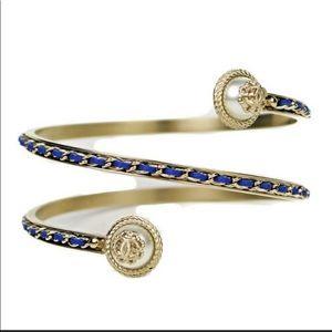 CHANEL Lambskin Chain Earl CC Bracelet Navy Gold